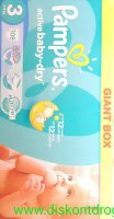 Pampers Active Baby 3 Midi 4-9 kg Giant Pack 108 ks